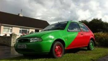 Mayo car green and red ford fiesta