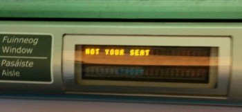 "Reserved seating Irish rail ""not your seat"""