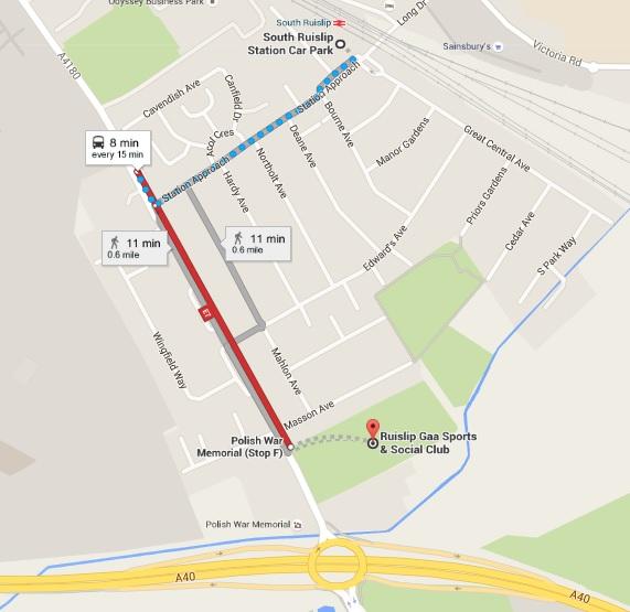 London v Mayo south ruislip station to ruislip gaa grounds