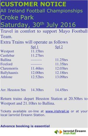 mayo v westmeath special trains