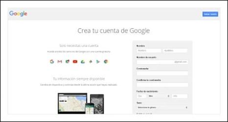 captura de formulario al crear cuenta Google
