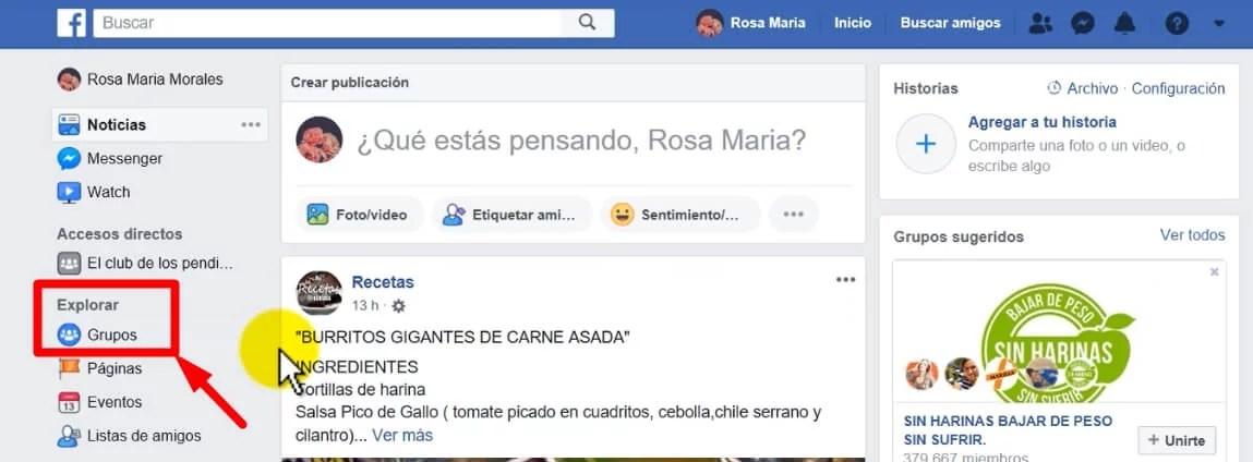 cómo buscar un grupo de facebook