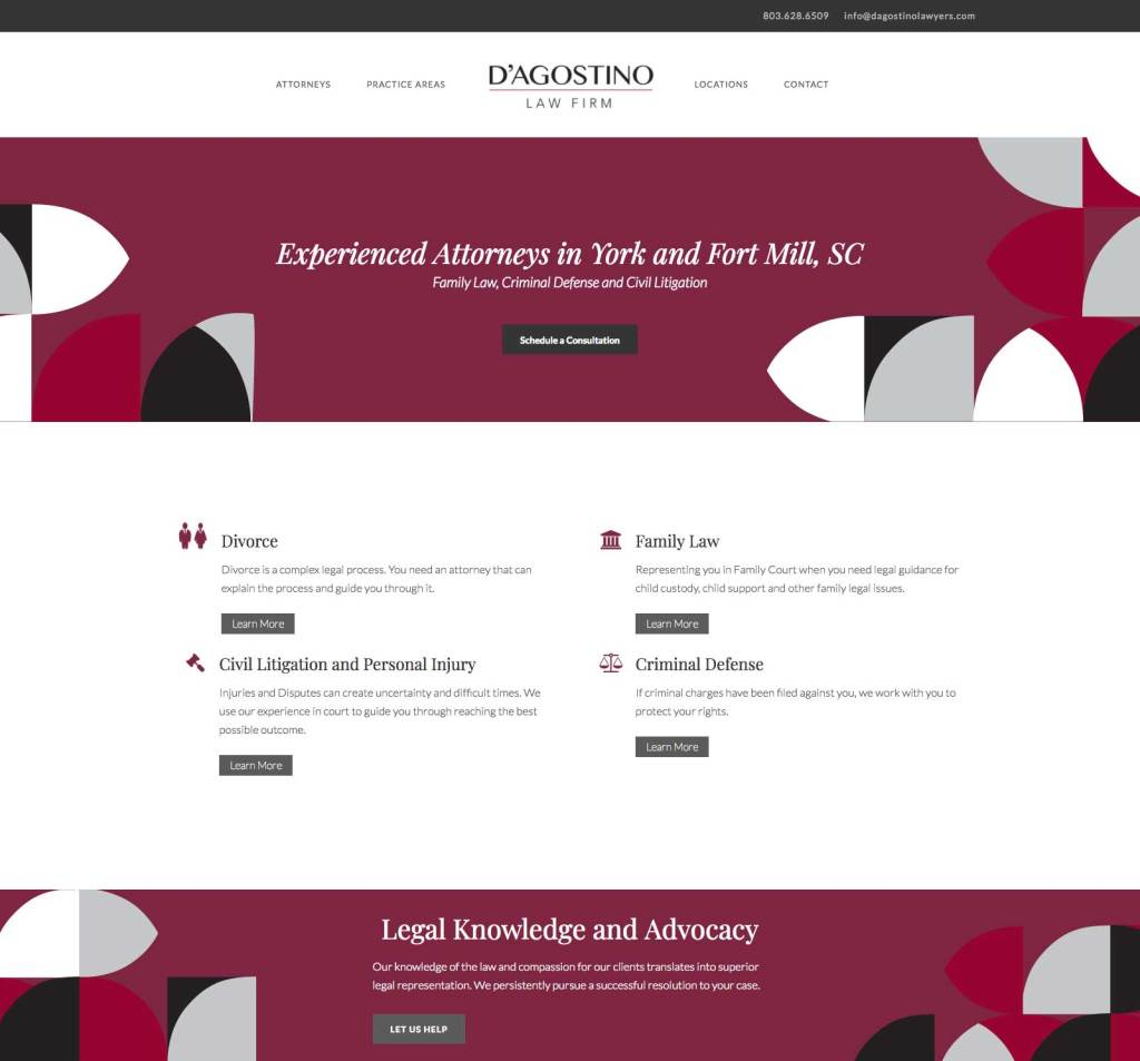 D'Agostino Law Firm Website Design by The Mayoros Agency in Fort Mill, SC
