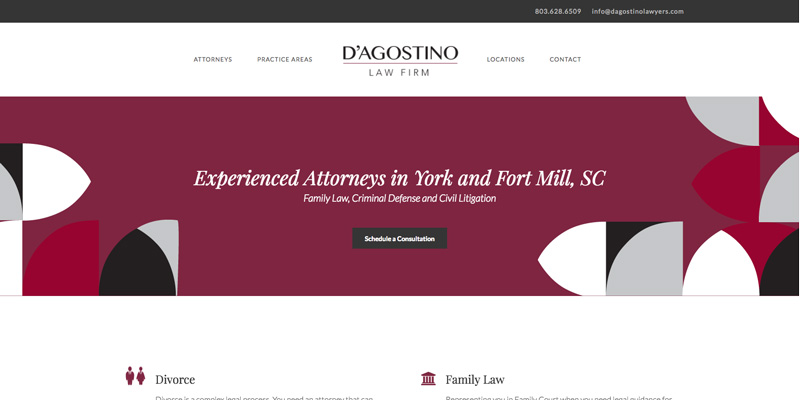 D'Agostino Lawyers website design that won an American Web Design Award in 2018