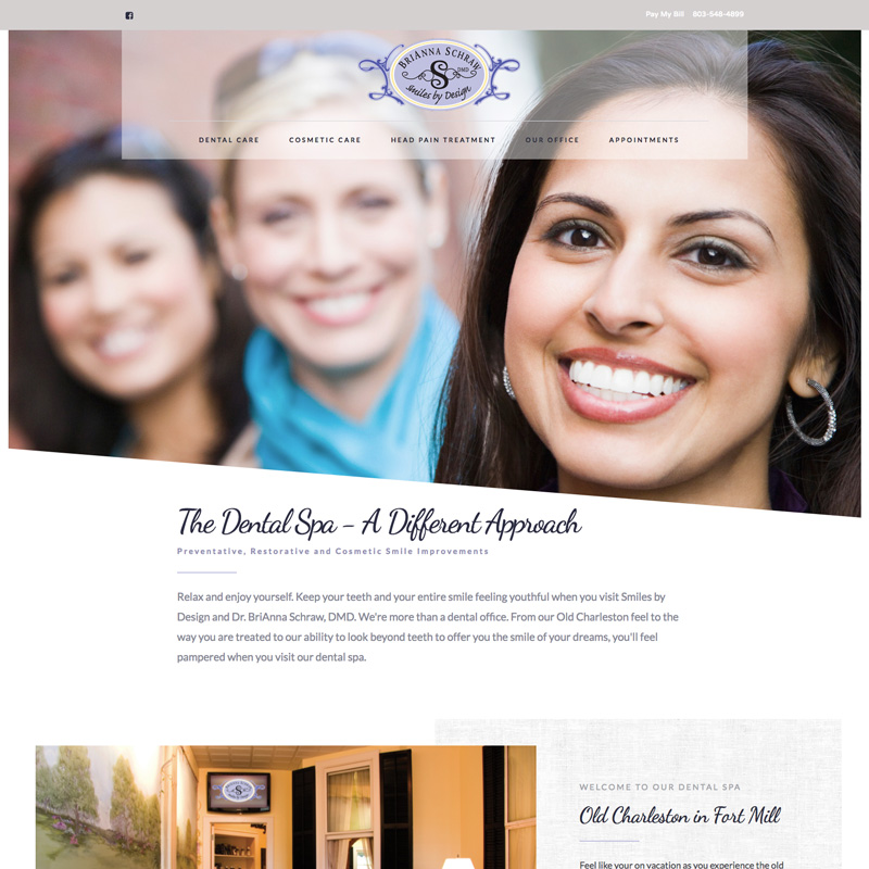 Smiles by Design Dental Spa in Fort Mill - Award Winning Website Design