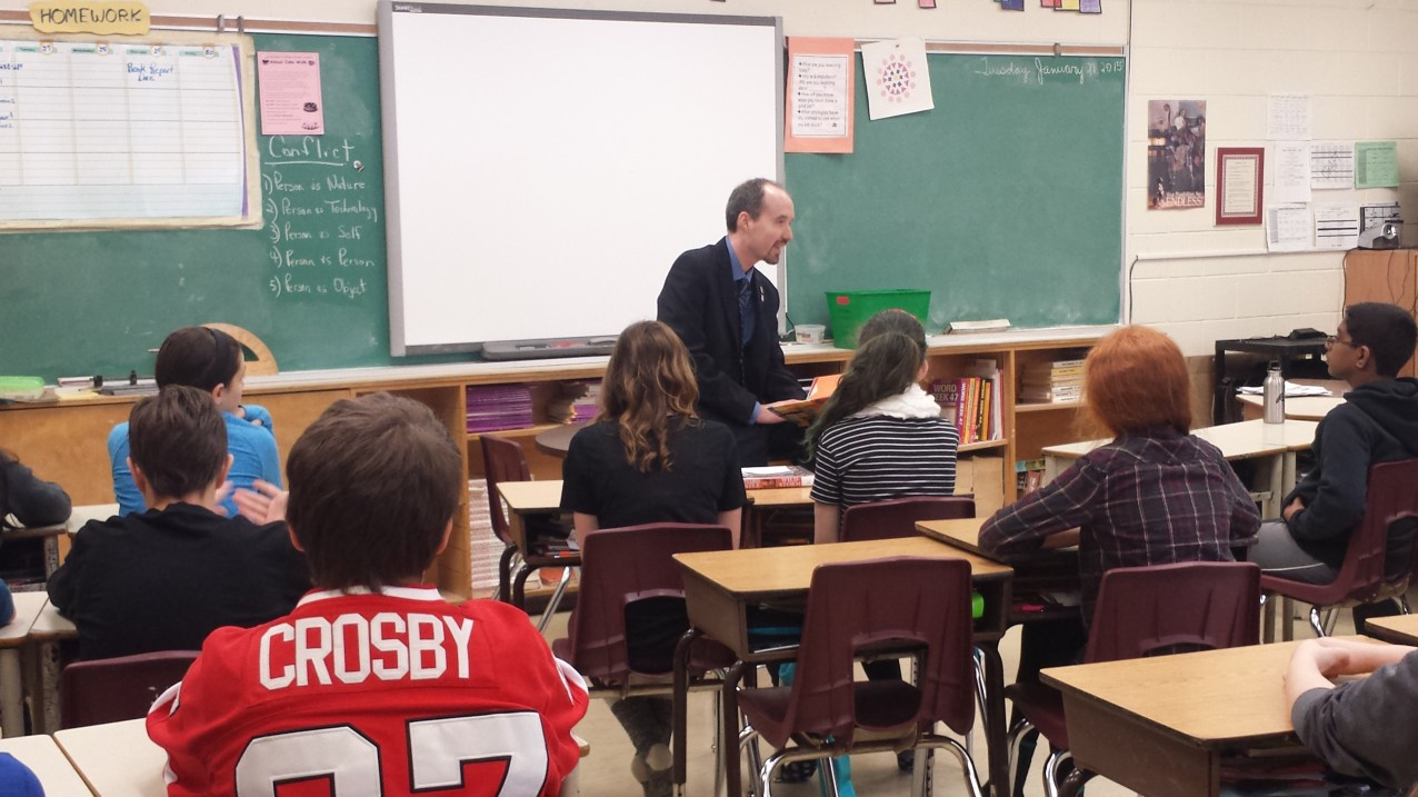 Participating in Family Literacy Day at Archbishop O'Sullivan school - Jan.27