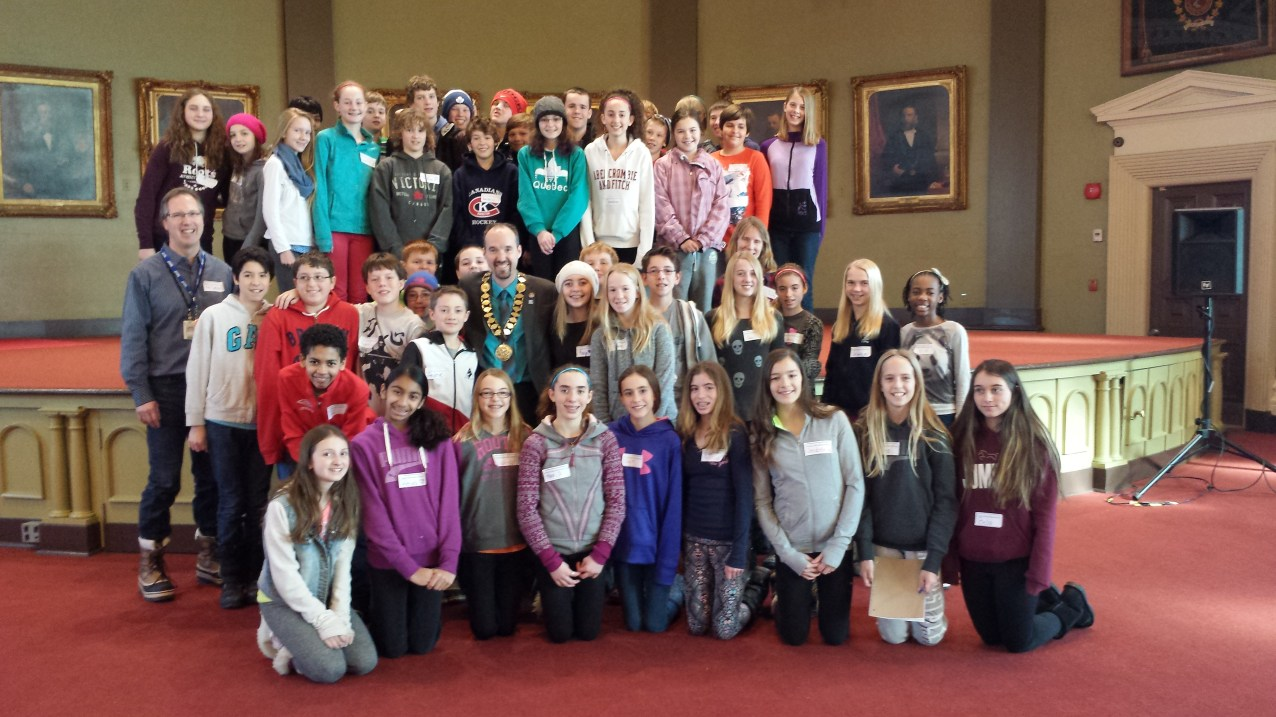 Talking local government with gr. 7 students from Lancaster Public - Jan. 14