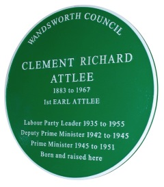 A green plaque marks the life of former prime minister Clement Attlee