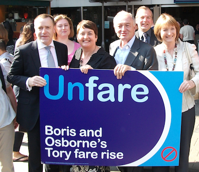 Val Shawcross (middle) campaigning for lower fares with Ken Livingstone during last year's election. Photo: MayorWatch