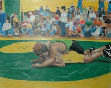 Wrestling - 2004 Oil Pastels and Colored Pencil on Velum