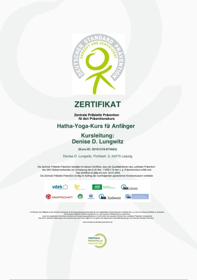 Zentrale Prüfstelle Prävention Hatha Yoga Zertifikat