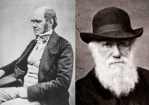 Foto de Charles Darwin joven y Charles Darwin viejo