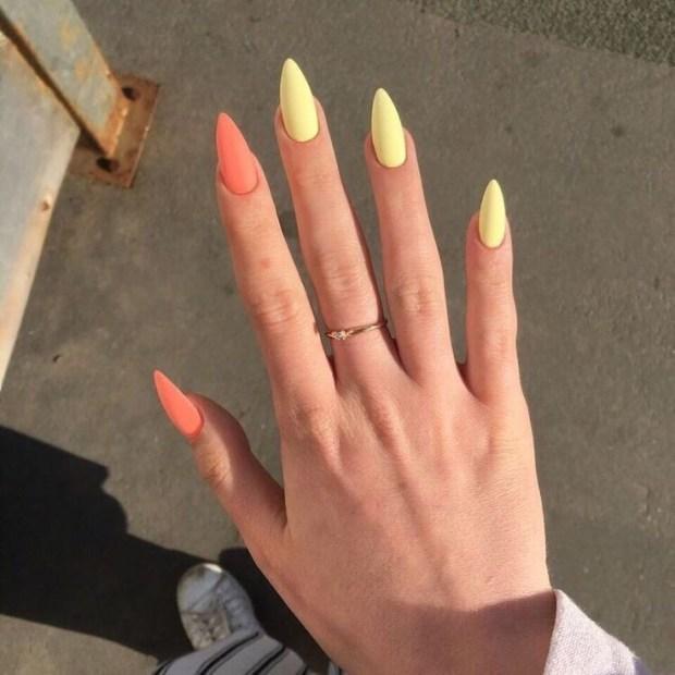 HOT YELLOW & ORANGE NAILS summer nail designs for 2021