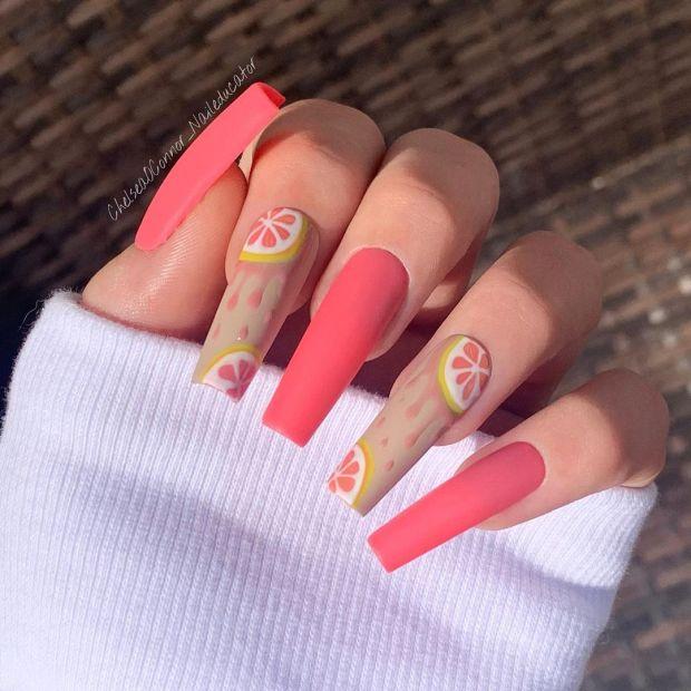 Peachy grapefruit summer nail designs for 2021