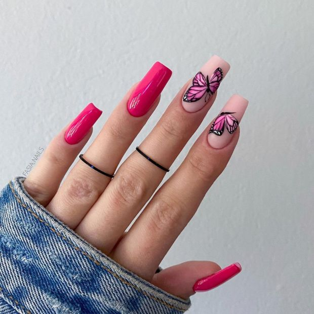 PINK BUTTERFLY summer nail designs for 2021