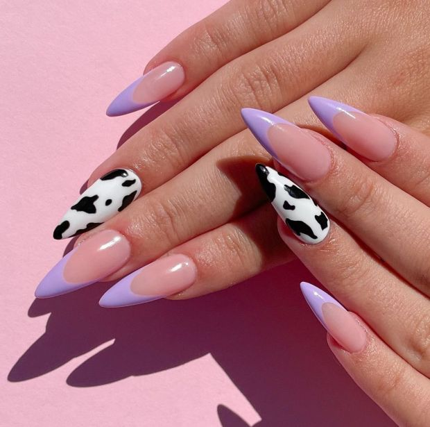 PURPLE AND COW PRINT summer nail designs for 2021