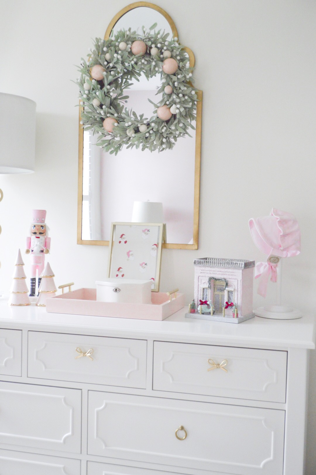 pink and white christmas decor