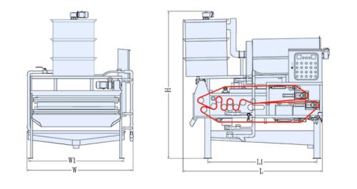 sơ đồ máy ép bùn băng tải TB1000