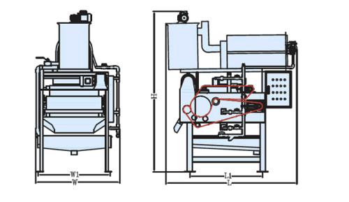 sơ đồ trước và một bên của máy ép bùn băng tải TDR1000