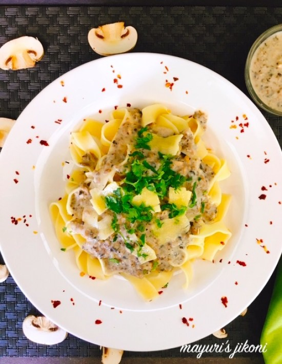 This image has an empty alt attribute; its file name is pasta-with-mushroom-sauce-3.jpg