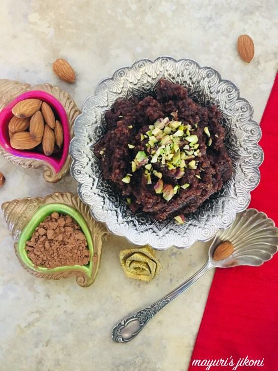 almond and chocolate halwa 6