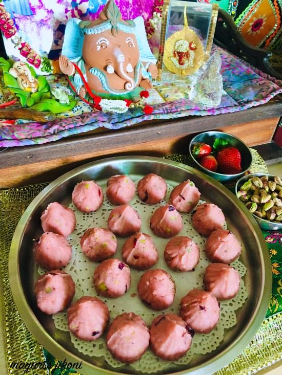 strawberry rose kesari modak 8