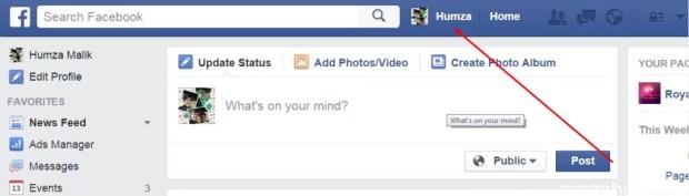 Facebook Stylish Status step 1