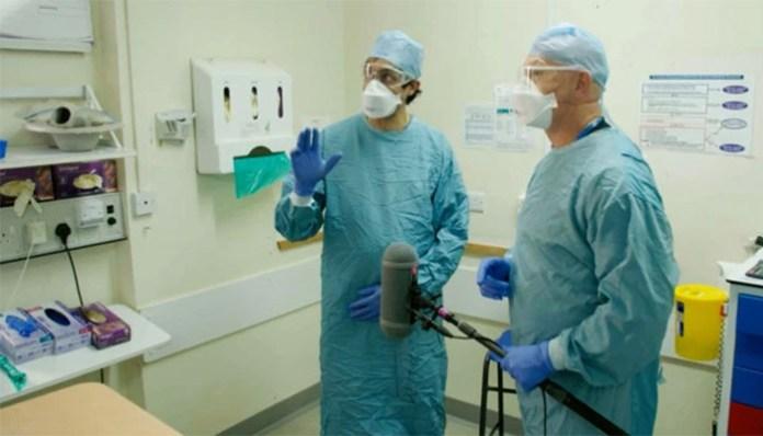 Ross Kemp filming on Milton Keynes University Hospital