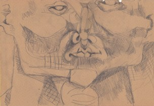 2013, Sketch based on observing with my fingertips.