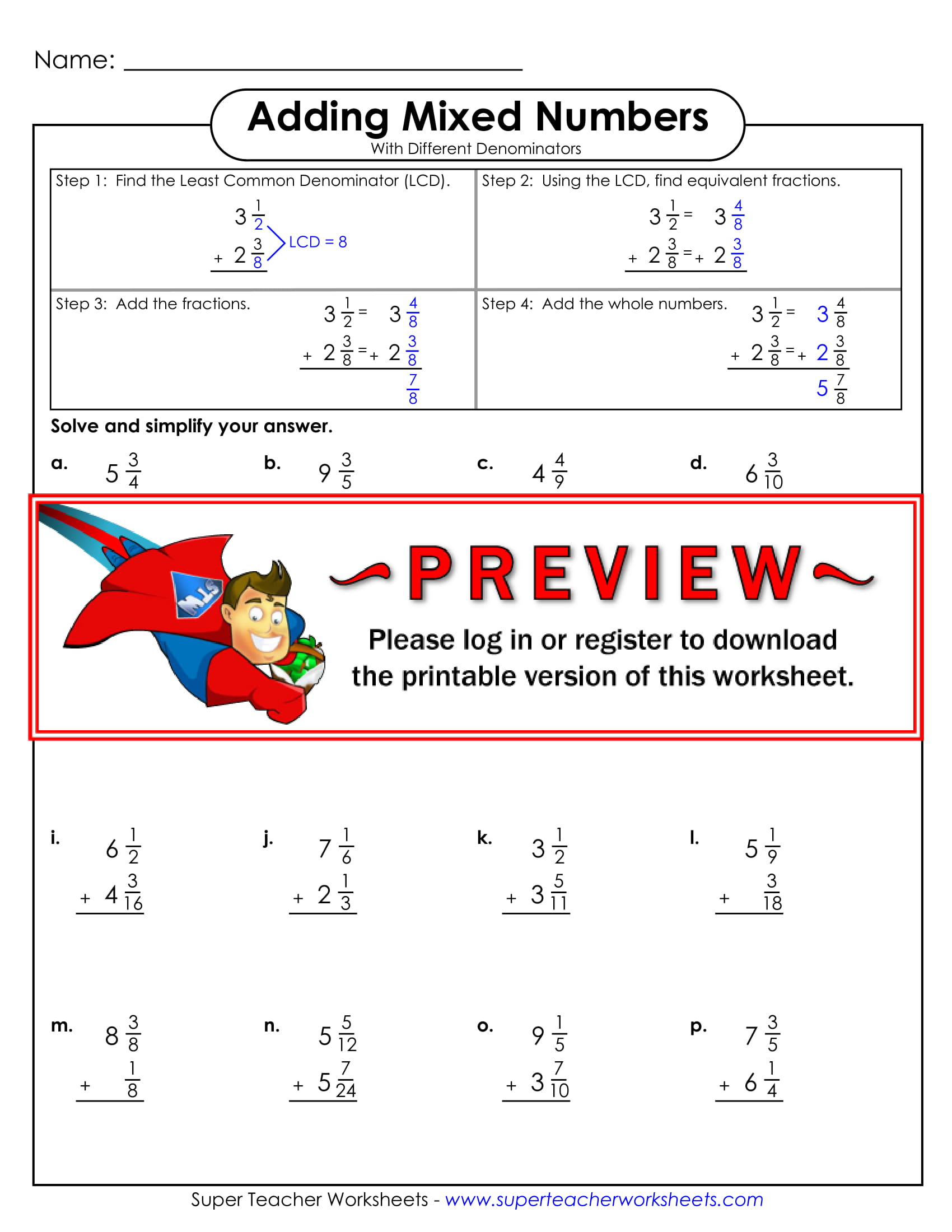 Subtracting Mixed Numbers Worksheet