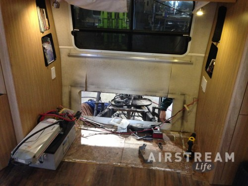 Airstream front hatch interior before