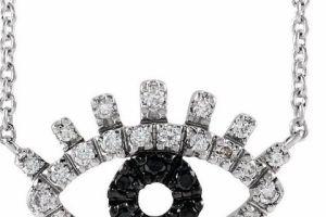 Evil Eye Black and White Diamond Gold Necklace 3