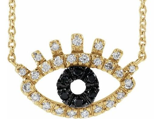 Evil Eye Black and White Diamond Gold Necklace 5