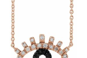 Evil Eye Black and White Diamond Gold Necklace