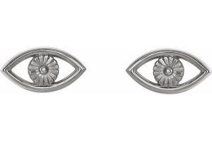 Evil Eye Earrings White Gold 2