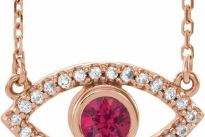 Evil Eye Gold Necklace Ruby & White Sapphire