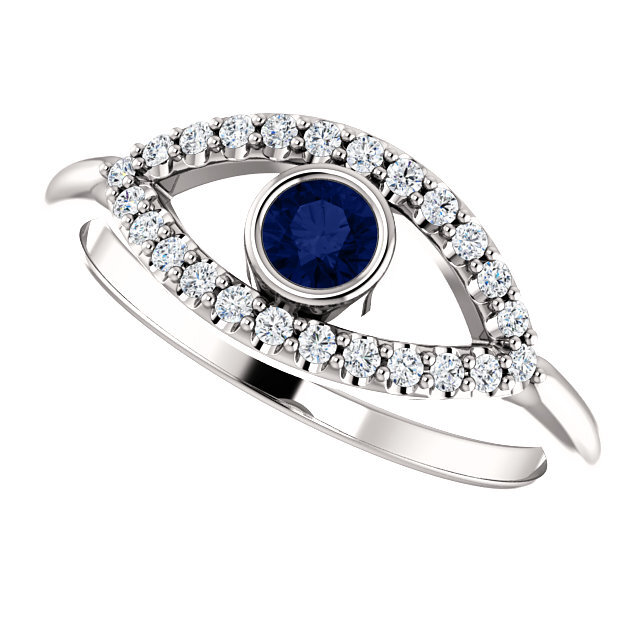 Evil Eye Ring 14K Gold Blue and White Sapphire