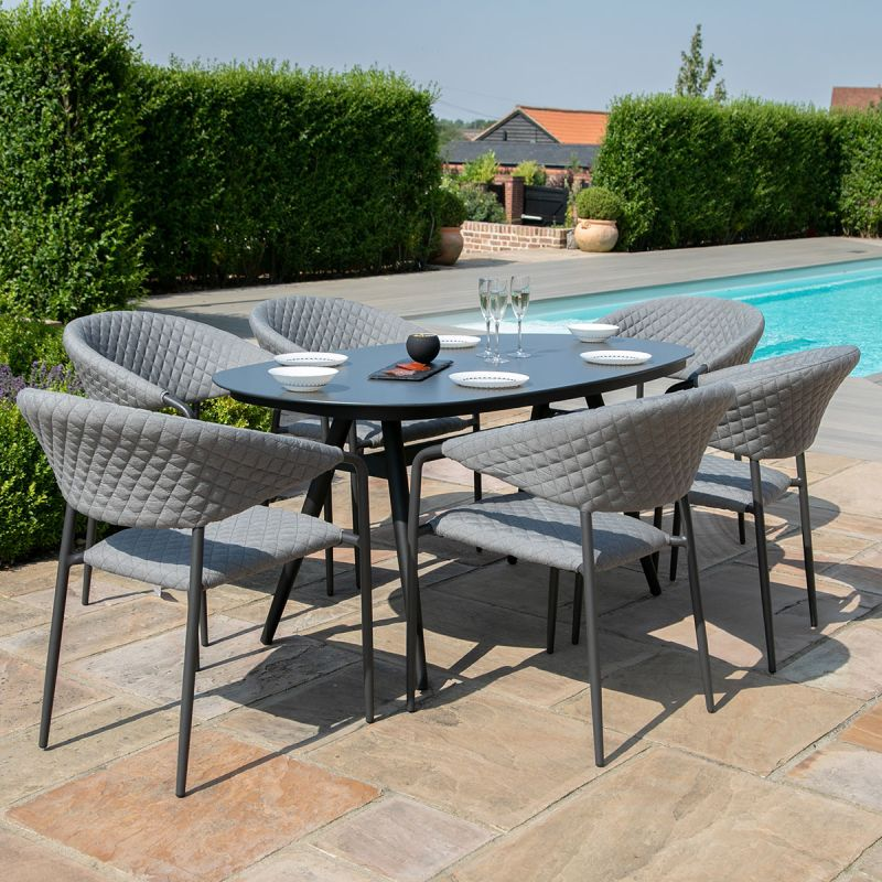 https mazeliving co uk outdoor fabric dining sets maze lounge pebble 6 seat oval dining set flanelle