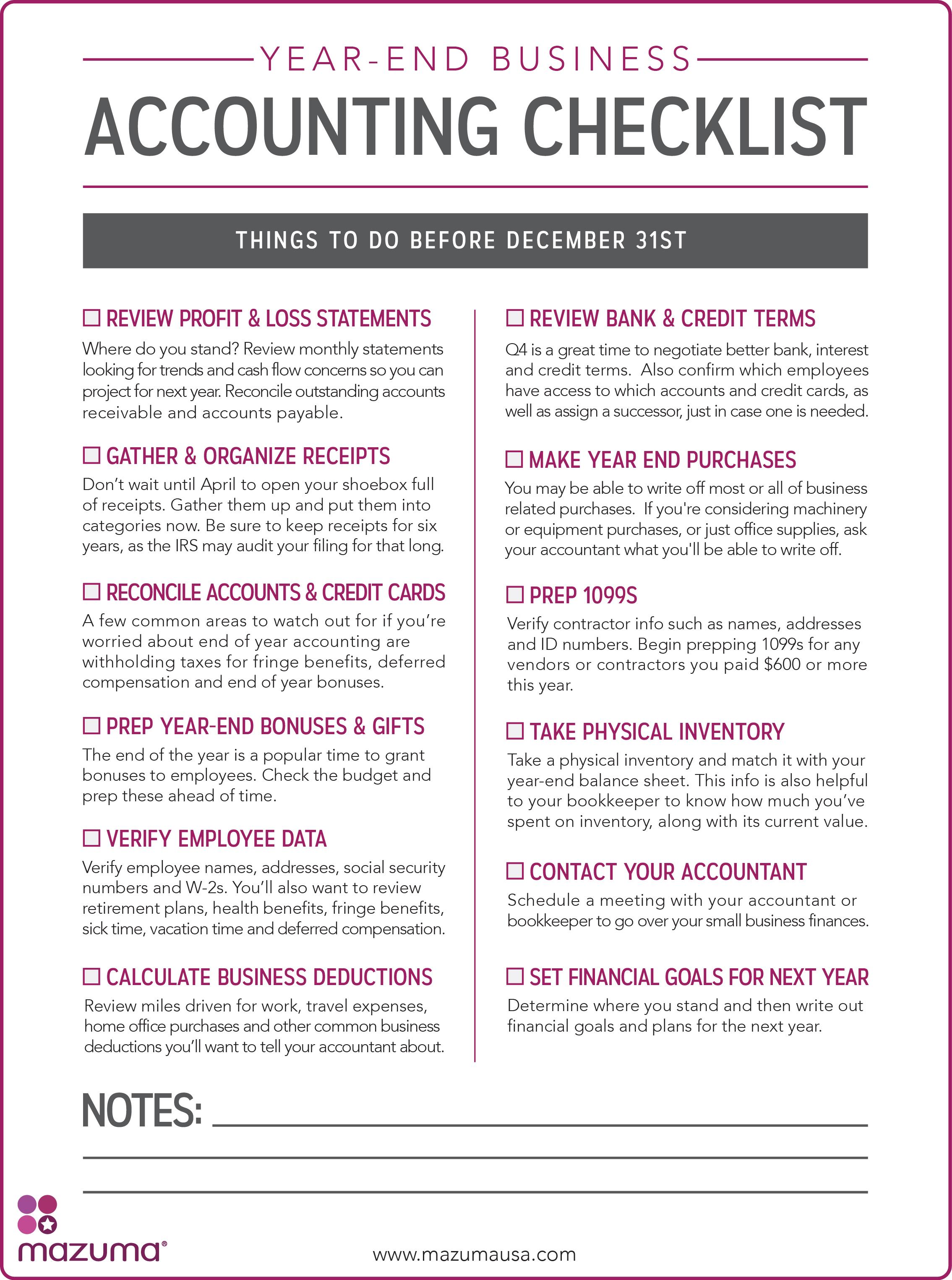 Mazuma S Year End Business Accounting Checklist
