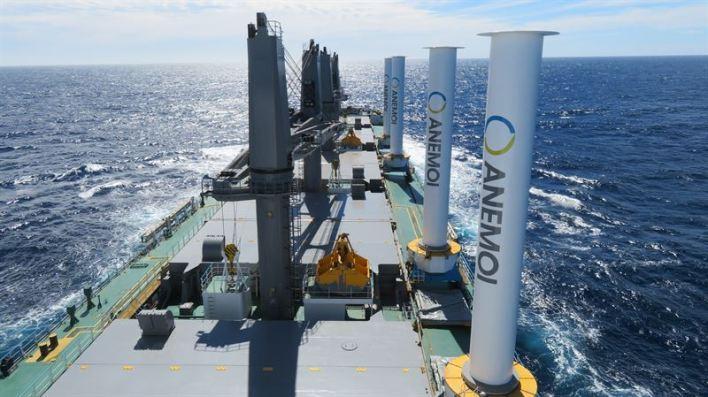 Wärtsilä will include Anemoi Marine Technologies' Rotor Sails as part of its propulsion offering. © Anemoi Marine Technologies
