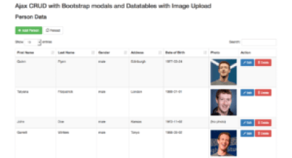 ajax crud bootstrap datatables with image upload