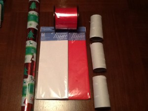 Materials for making Christmas Crackers