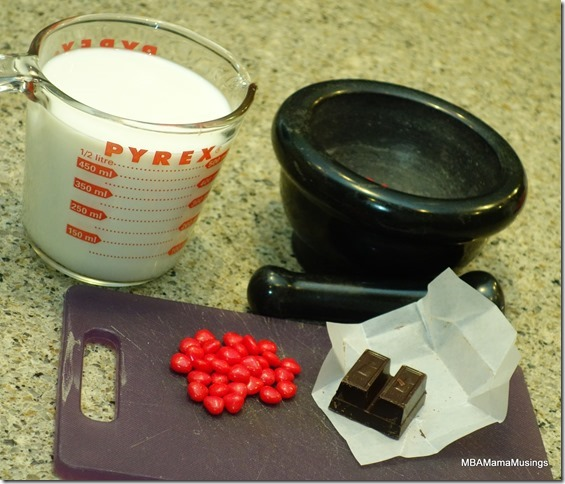 Milk, cinnamon heart candies, Semi-Sweet chocolate for Valentine's Hot Chocolate