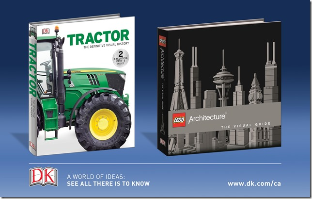 DK Banner With Tractor and Lego Architecture Books