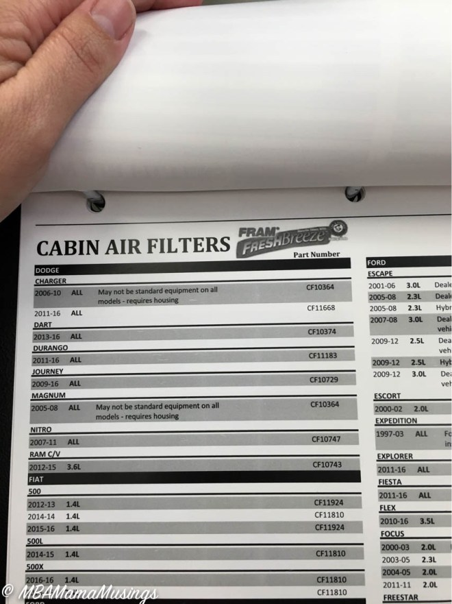 FRAM Fresh Breeze Cabin Air Filters catalogue listing