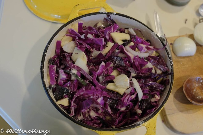 German Cabbage Casserole Ready to Bake in Yellow Cast Iron Pot