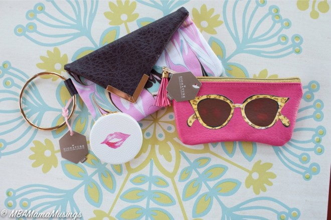 Hallmark Wristlet Pink Eyeglass Case Hot Lips Mirror Case