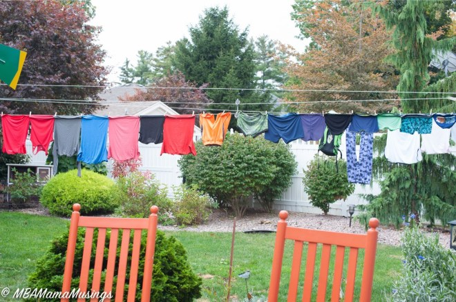 Laundry on clothesline #OxiCleanChallenge OxiClean PreTreaters