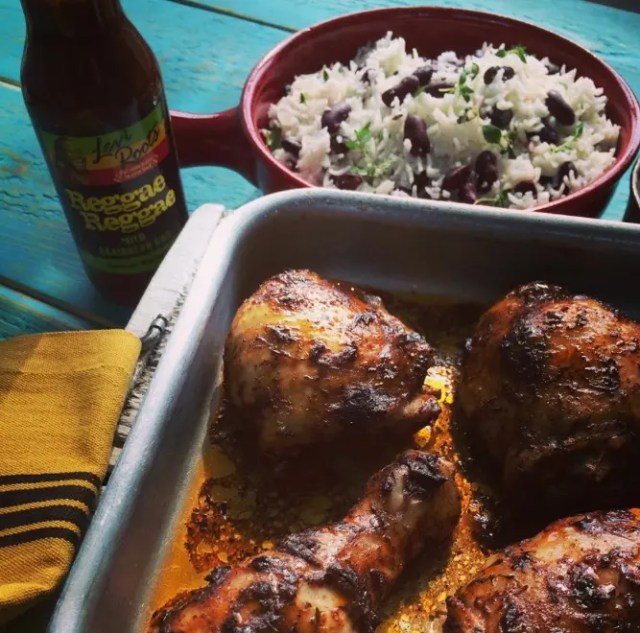 Caribbean chicken with rice and peas