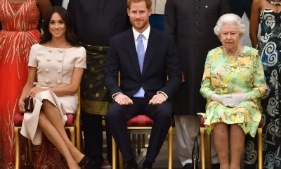 Prince Harry and Meghan with the Queen